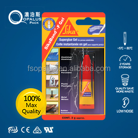 All purpose instant super glue blister card aluminium tube 3g