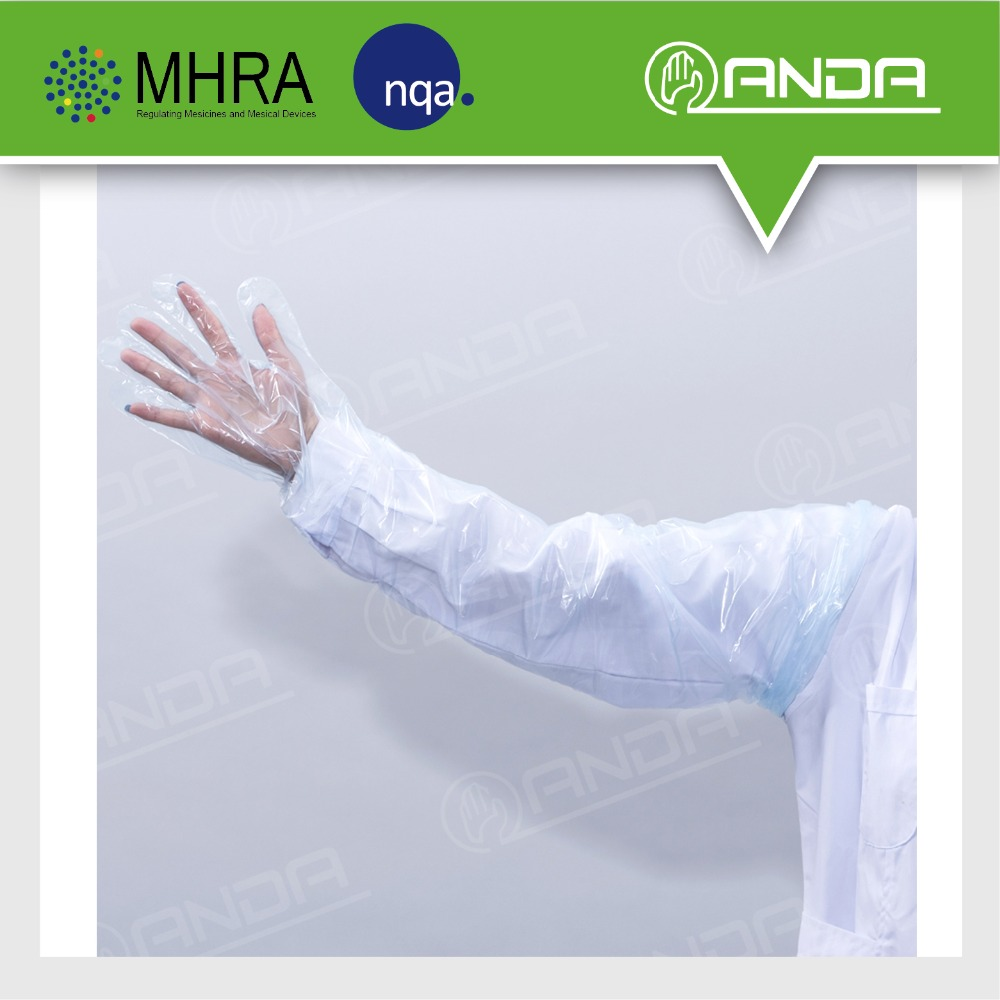 ADV001 pe material plastic 90cm shoulder length veterinary long gloves