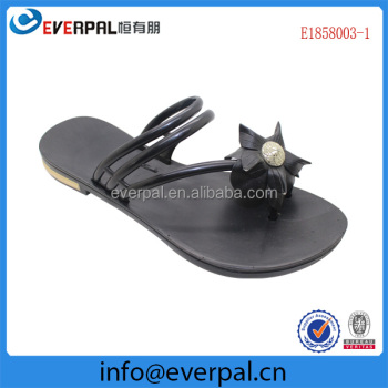 Flat Ladies Black PVC Sandal