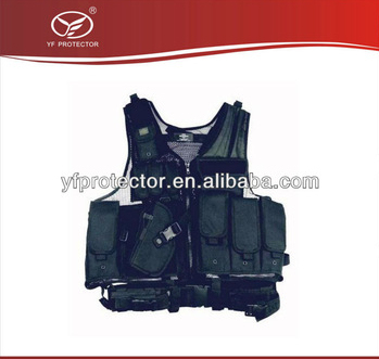 BULLETPROOF VEST Deluxe Multifunctional Tactical Vest Swat holster Paintball Airsoft Police Black Left Handed Holster