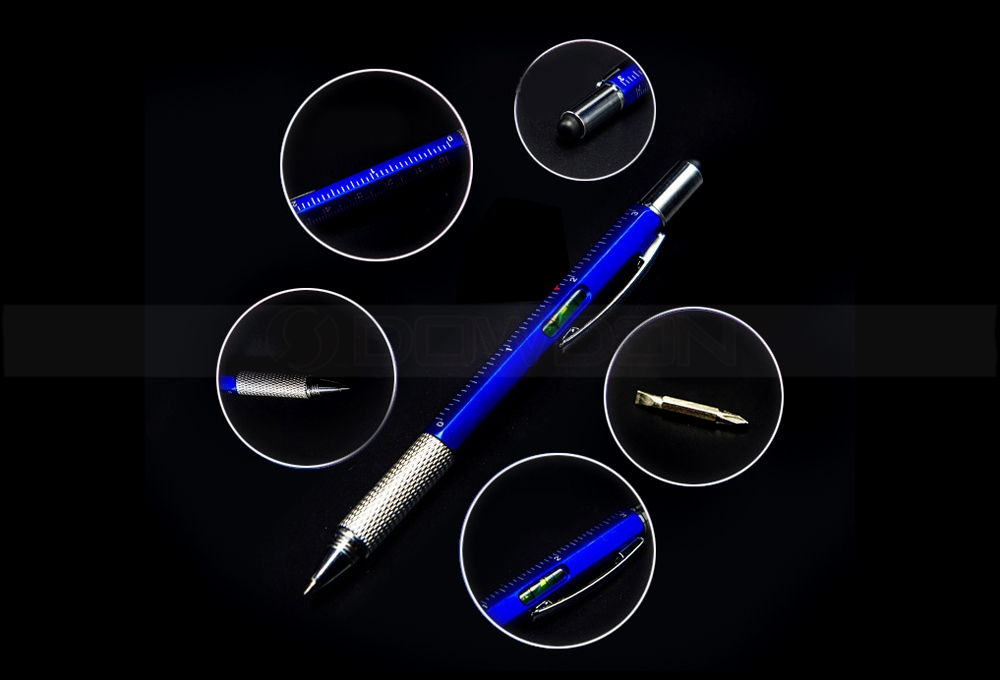 Versatile Stylus Pen Tool 6 in 1 Pen Multitool Ballpoint Pen,Stylus,Ruler,Screwdrivers,Level Gauge