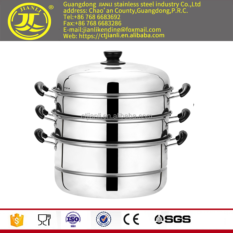 Kitchenware cooking pot cauldron stainless steel steamer three layer steam pot stainless steel cookware