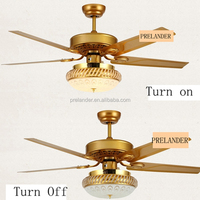 Golden Brushed Color 48 inch Iron Material Contemporary Ceiling Fan with Led Light