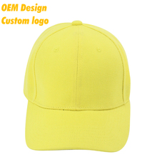 Custom Logo Brand name TC Metal Buckle Pre-curved flexfit Logo Printed Yellow high crown dad cap hat for uniform