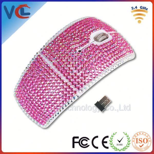 retractable usb mouse pink crystal glass mouse and diamond optical wireless mouse