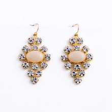 2016 New Costum Fashion Gem Facets Crystal Costume Handmade Earrings