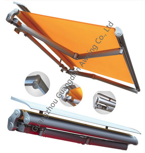 Auto folding arm awnings for terrace