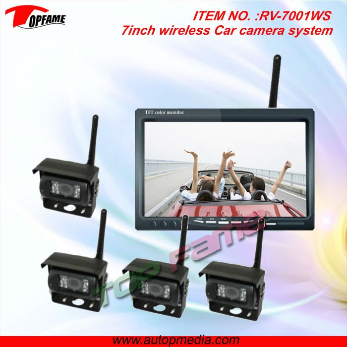 7inch analog wireless car camera system with 4CH display switch & CMOS/CCD camera
