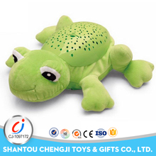 Funnt soft electric plush green frog dog toy for kids