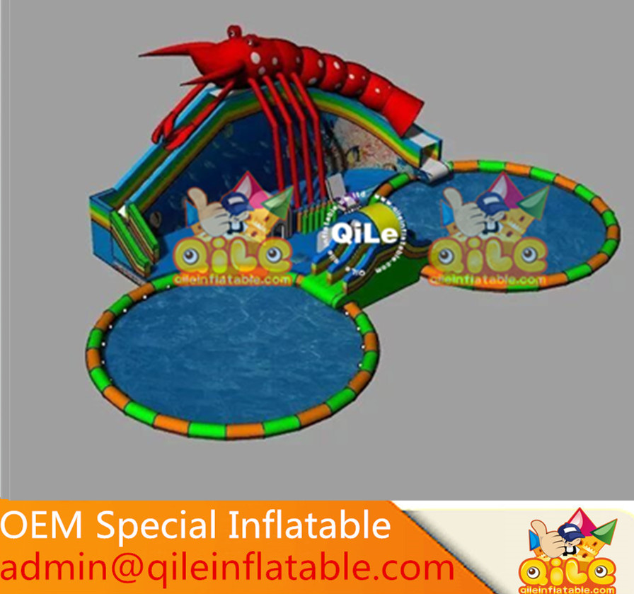 shrimp model inflatable commercial water slide park with pool for kids and adults