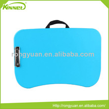 Modern hot sell portable blue plastic top with black waffle fabric pillow laptop desk