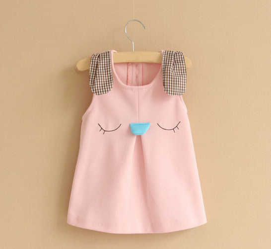 W50336Q 2015 NEW STYLE CANDY COLOR SMILE FACE BALLON DRESS FOR GIRL