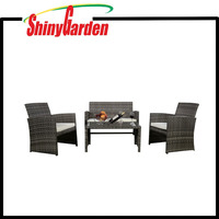 Outdoor Garden Patio 4-Piece Cushioned Seat Wicker Rattan Sofa Furniture Set