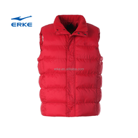 ERKE 2015 winter mens plain light wight keep warm padded waistcoat blank full zip brand vest for wholesale in stock