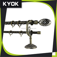 Factory direct sale durable metal wall mounting single double curtain rods/curtain poles