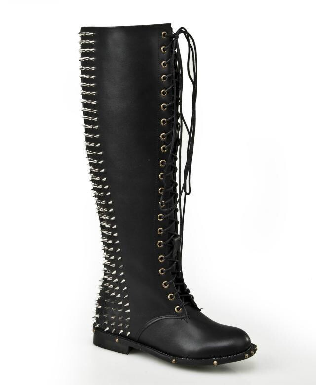 2015 European and American style newest design rock style black boots , ladies cool punk boots with rivets