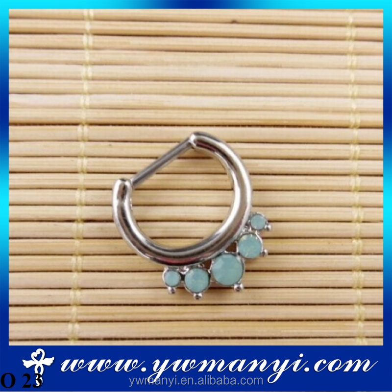 Factory Direct Sale Round Opal Stone Nose Hoops Unique Fake Nose Ring O 23