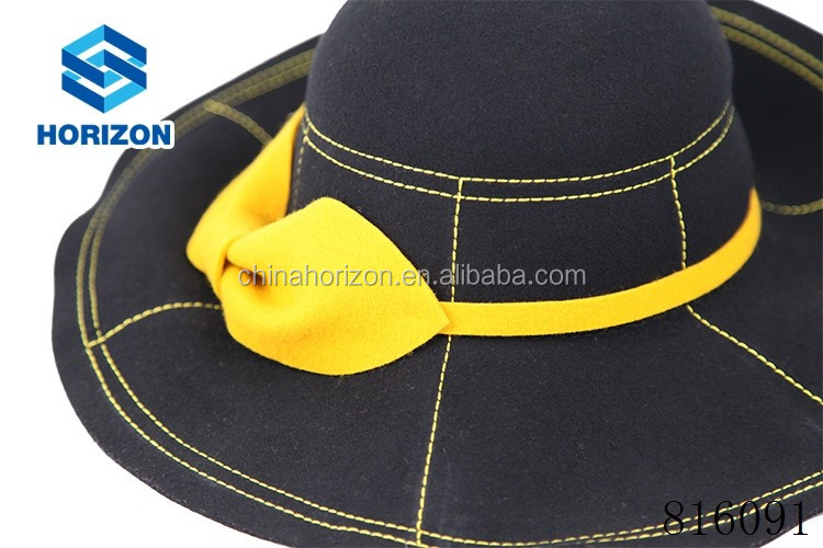 Floppy hat with bowknot decoration 100% Australia wool stylish 2017 new style Spring hat wool felt floppy hat