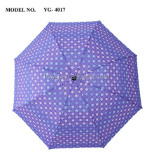 21 Inch mannual pen and close promotion costomized diamond pocket 3 foldable umbrella