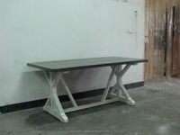dining room type rustic style zinc top white leg dining table