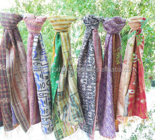 EXCLUSIVE KANTHA HAND EMBROIDERY SILK DUPATTA MULTI COLOR