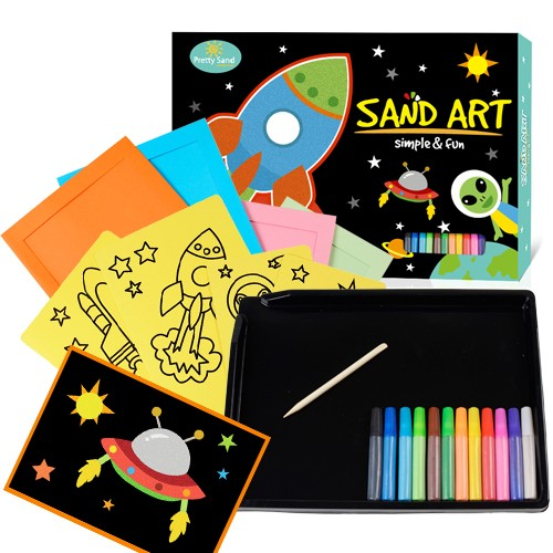 Rocket space sand art set for boys and girls