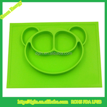 100% Food grade custom silicone baby placemat,kids silicone placemat with bowl , silicone placemat for kids