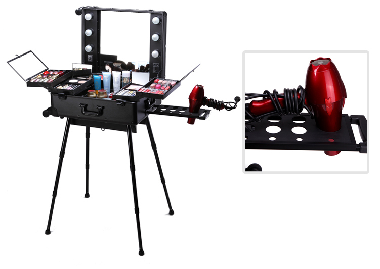 New Design Lights Aluminum Beauty Case Set With Drawers, Small Decorative Box, Metal Cosmetic Tool Box With Lights Mirror