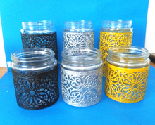 Hot selling glass canister with black white gold silver metal coating , glass jar for food storage