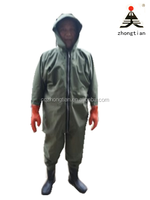 Green PVC raincoat wading suits for wholesale