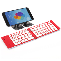 Aluminum Folding Bluetooth Keyboard 2 Folds Folding Keyboard for iPad ProTablet and for iPhone Samsung Cellphones TP-N228 Red