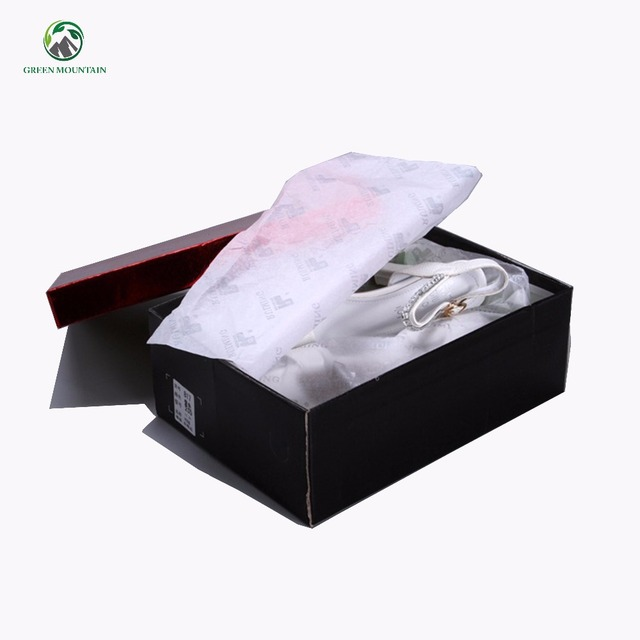 17g Wood pulp printed custom brand name white tissue paper for wrapping shoes