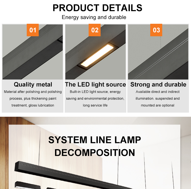 Home Decoration Study Room Aluminum 15W SMD LED Linear Pendant Light