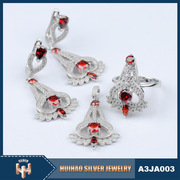 2016 new elegant design rhodium plated 925 sterling silver jewelry set women's
