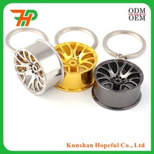 New Promotional custom aluminum /metal auto parts car wheel rim hub keychain