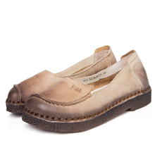 women genuine leather material flat casual dress shoes