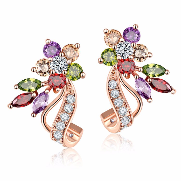 Mantis shape colorful quality zirconia women unique fancy stud <strong>earrings</strong>