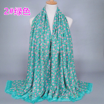 new design Girl printed floral muslim shawls cotton headband muffler hijab winter muslim long scarves/scarf GBS252