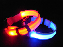 Free shipping LED dog collar led Leash,more color choose led nlyon collar wholesale