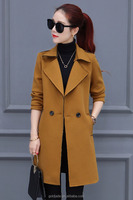 2016 Winter Trench Coat Lapel Long Sleeve Ladies Casual Long Outerwear Coats for wholesale