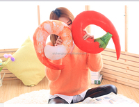 2016 hottest and newest plush shrimp neck pillow /soft shrimp cushion