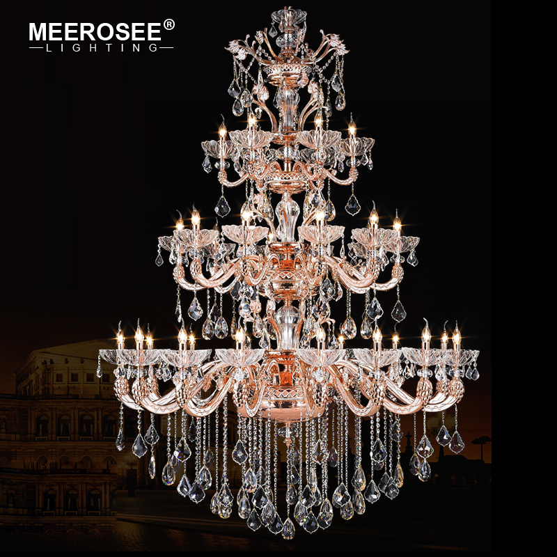 MEEROSEE Extra Large Hotel Lobby Banquet Ceiling Lighting Project Customized Huge Zinc Alloy Chandelier Crystal MD88093-L32