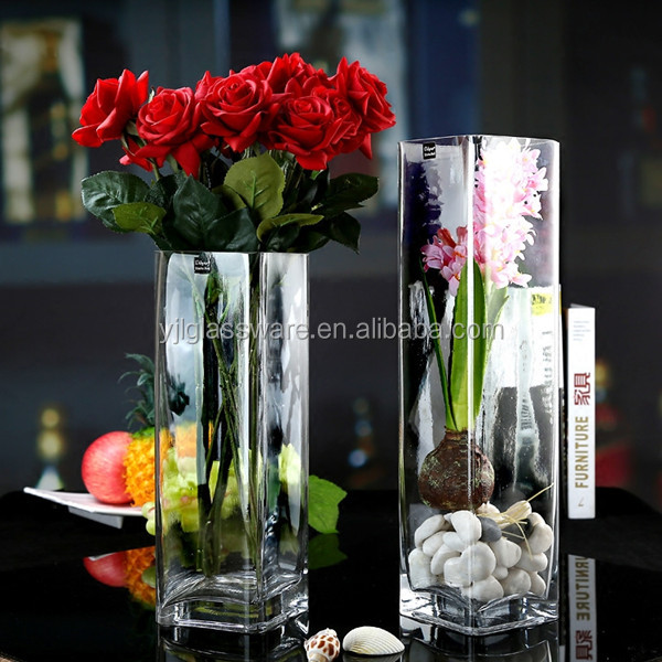 wholesale rectangular shape clear glass vase