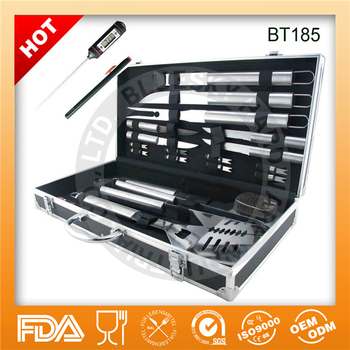 19piece stainless steel bbq grill accessory with aluminiun case
