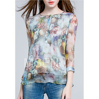Woman floral digital printed Silk chiffon Woman Top