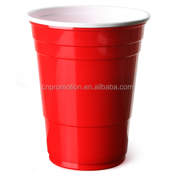 Custom Printed Double wall 16OZ Plastic Red Beverage Cup