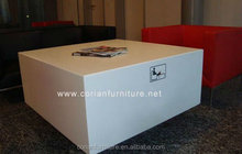 Modern design acylic solid surface built small coffee table/center table