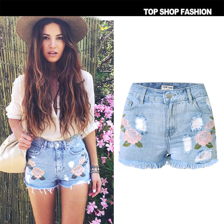 B10022a Hot Sale Lady Embroidered Denim Shorts New Fashion Women ...