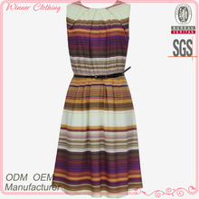 Latest women fashion rainbow color sleeveless round collar design knee length waist belt stripe dress plus size