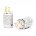 One Pair Audio Grade Transparent Gold Plated US Power Plug HiFi USA AC Connectors Cord Adapter